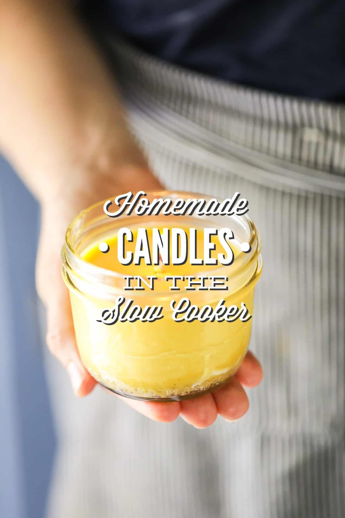 The slow cooker is for more than food. DIY candles in your slow cooker without messy cleanup. #candlemaking #candlerecipe #essentialoils #essentialoilrecipes #soycandles #diygifts