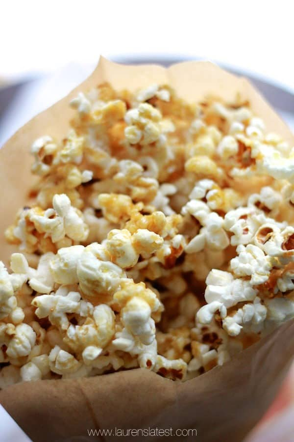 Healthy Caramel Corn...made with no refined sugar at all! Also, it