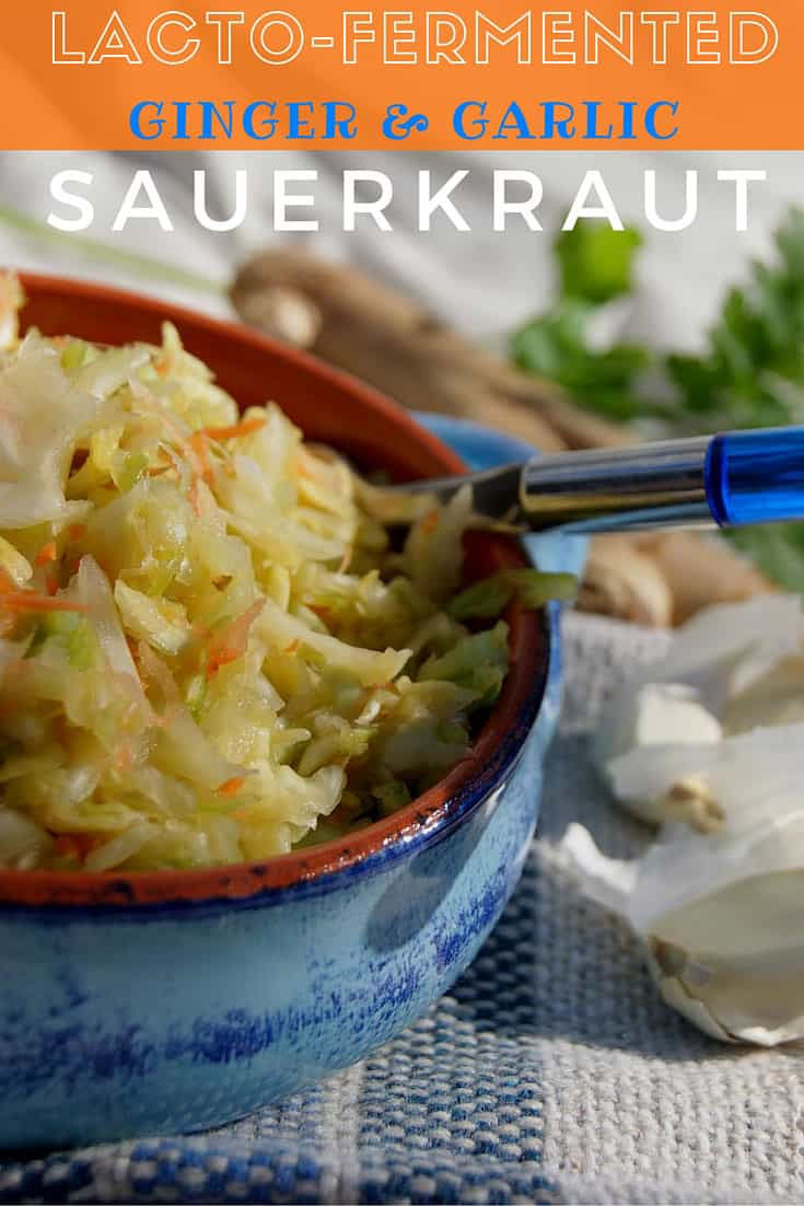 Lacto-Fermented Ginger and Garlic Flavored Sauerkraut | SimplePureBeauty.com