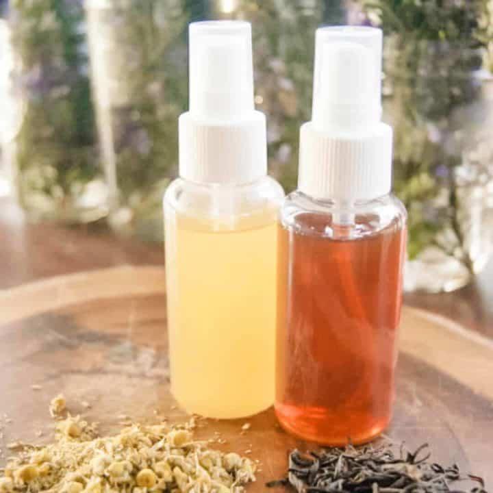 Ingredients and 2 bottles of homemade hairspray