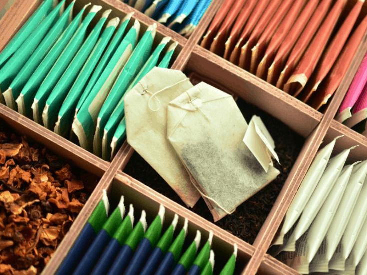 box of tea bags for making homemade hairspray