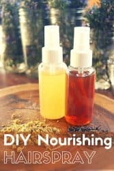 DIY Hairspray Recipe that actually nourishes and strengthens your hair?? I'll take it! This homemade hairspray is easy to make infused with essential oils to make your hair even healthier. #hairstyles #haircolor #hairloss #diy #natural #homemade #hairspray