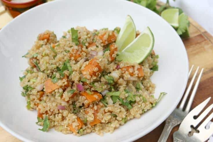 Pan Roasted Sweet Potato Quinoa Salad - loaded with lots of different flavors and packed with nutrition. Check out the easy recipe!
