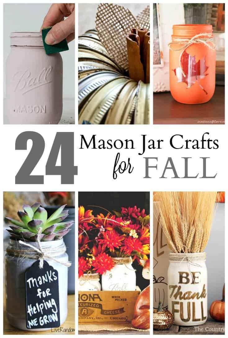 These cute mason jar craft ideas are sure to please. You'll never run out of fall decor ideas with these mason jar fall decorating crafts. #masonjarcrafts #diy #falldecor #fall #craft