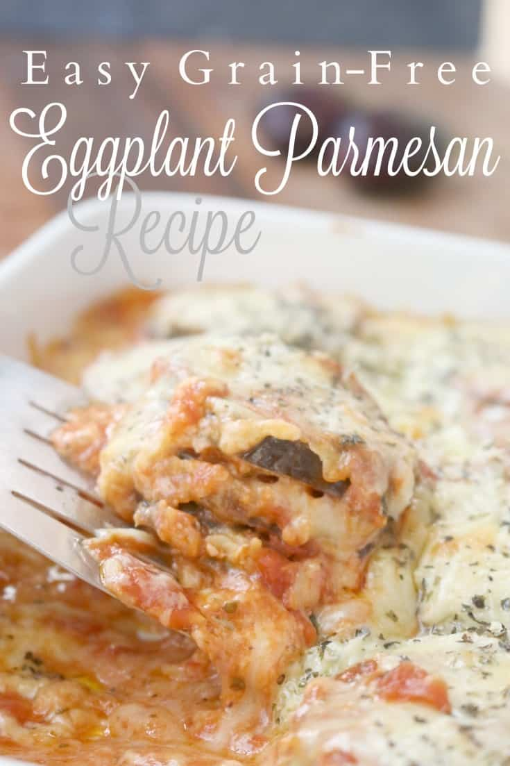 Perfectly cooked eggplant rounds are submerged in a delicious marinara sauce and loaded with good quality cheeses. This easy, grain-free version will become a staple in your home. #garden #fresh #local #organic #eggplant #healthyrecipe