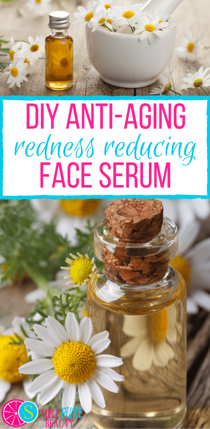 Check out this simple, 4-ingredient DIY redness-reducing anti-aging face serum. Whether your skin is mature or suffering from Rosacea, you'll enjoy the benefits of these oils. #antiaging #skincare #essentialoils #serum #homemade #calming