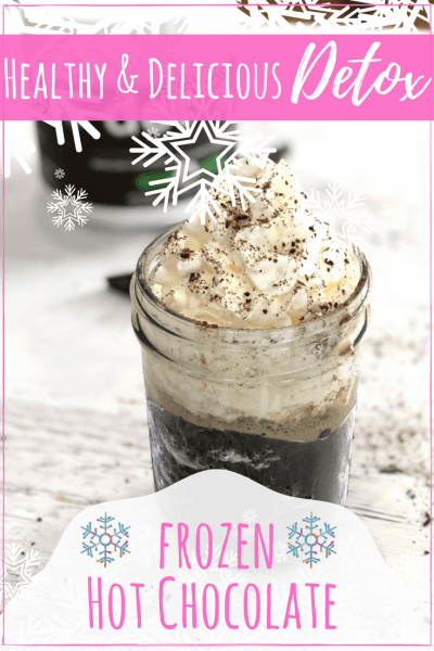 Easy Healthy Frozen Hot Chocolate Recipe to Lose Weight & Detox! #raw #nongmo #detox #hotchocolate #organic