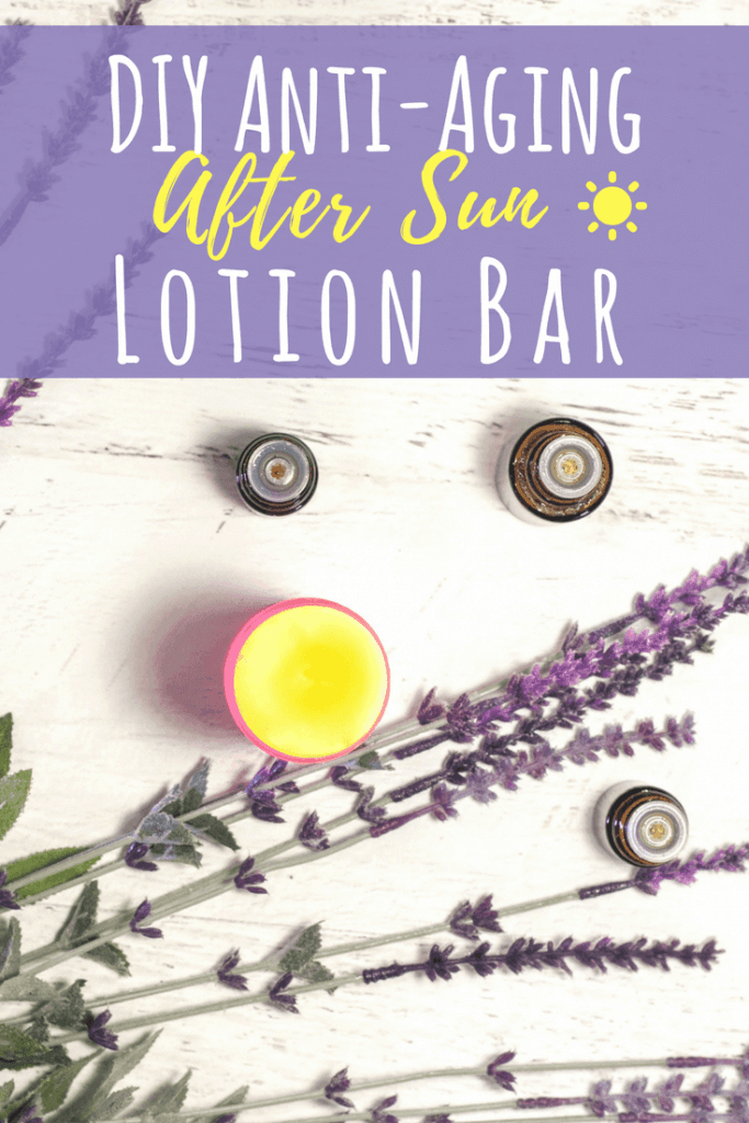 Soothe your skin after a day in the hot sun with this DIY Anti-aging after Sun Lotion Bar Recipe infused with Essential Oils! #antiaging #skincare #sunburn #healing #summer #diybeauty