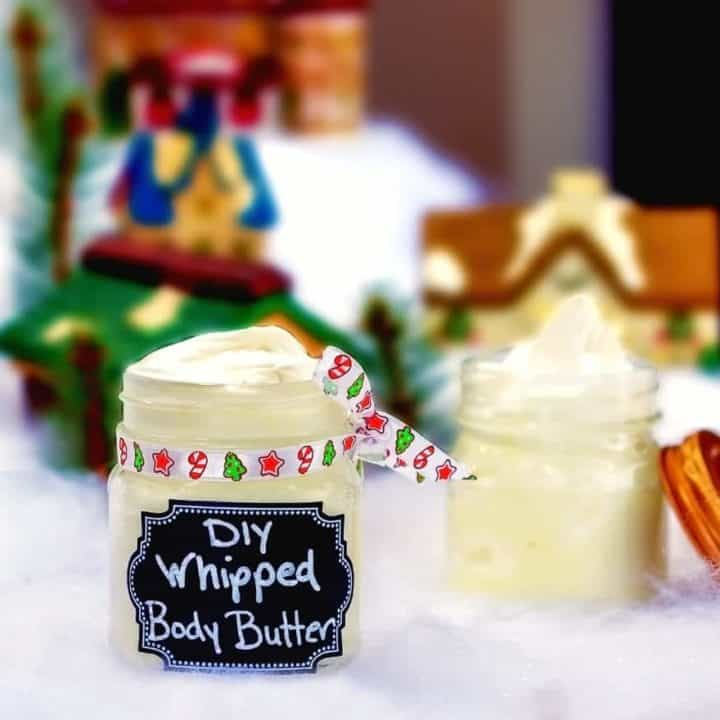 This holiday season, give the gift of homemade gifts with this simple and luxurious whipped body butter! Created with natural ingredients like coconut oil, essential oils and mango butter, you can rest easy knowing that your DIY Christmas gift ideas are certain to be a hit. Help your family and friend moisturize their skin and maintain their healthy glow all year long with this DIY whipped body butter recipe! Homemade body butter has never been so simple! #DIY #bodybutter #homemade #essentialoils