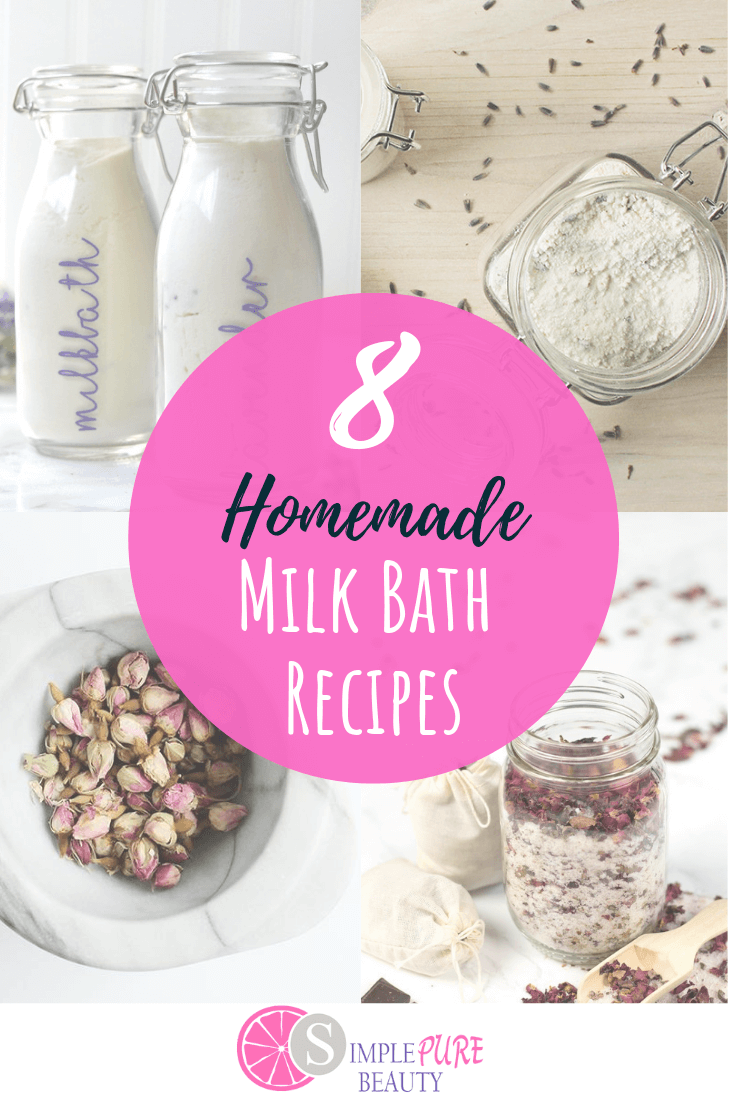 These homemade milk bath recipes are simple and easy to make. Natural and chemical-free, you'll love knowing that you're treating your skin healthy! DIY milk bath does a great job at hydrating and moisturizing your skin to give it a natural glow that others will love. Are you ready to have smooth and soft skin, with not much effort on your part? These milk bath recipes are great to give as gifts as well! #DIY #homemade #milkbath #natural #beauty #skincare