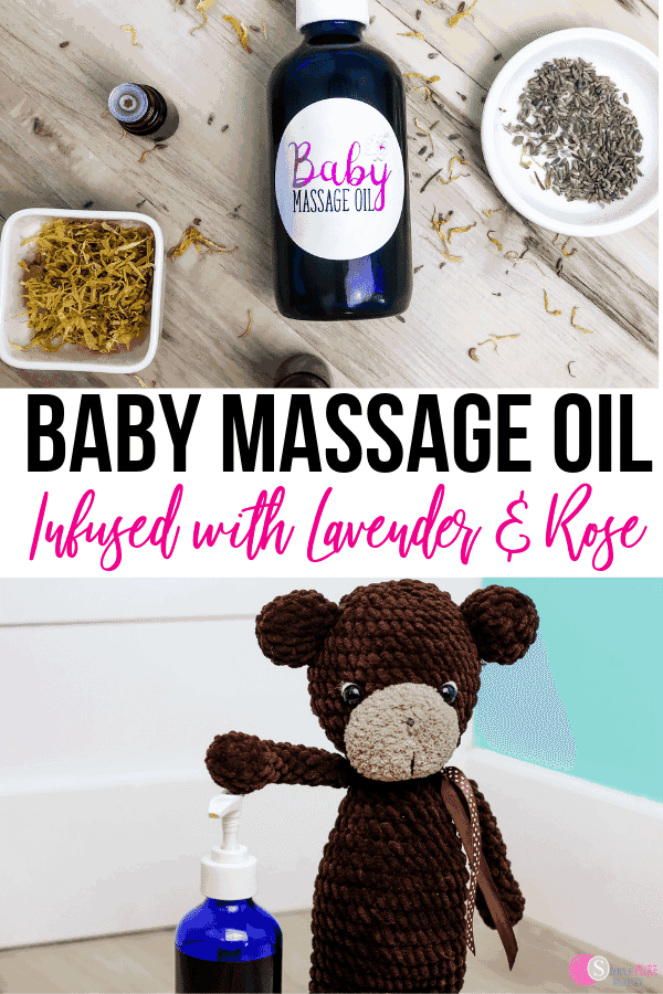 This Best Baby Massage Oil Recipe Infused with Lavender and Rose is perfect for giving your little one comfort and love. Made with simple, pure ingredients. Giving your baby a massage is a gentle way to help them relieve stress and feel comforted by your touch. This homemade massive oil can help! Give this DIY massage oil to new moms as well. #homemademassageoil #babymassageoil #naturalproductsforbabies #babyskincare