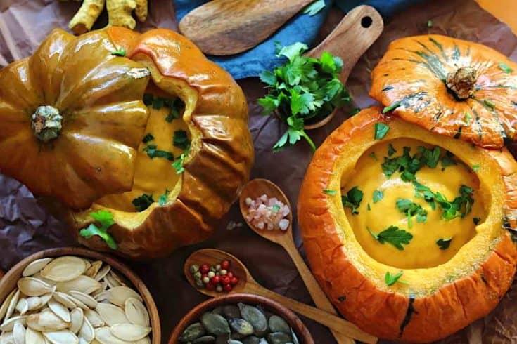 Roasted Low Carb Pumpkin Soup Recipe served inside Baked Pumpkin