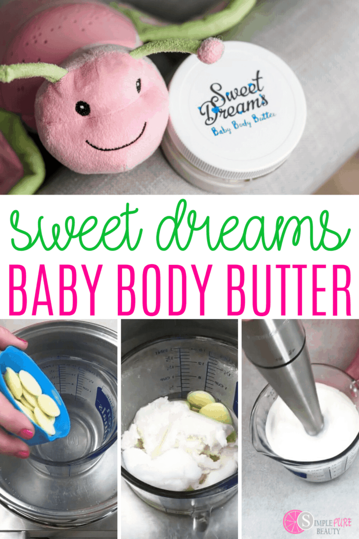 This homemade body butter recipe is simple and safe for babies. It's a great way to moisturize the skin while knowing that you're doing so using a safe and natural option that isn't full of chemicals. This baby body butter is a great DIY body butter lotion for all. #bodybutter #DIYbodybutterlotion #naturalbodybutter #homemadebodybutter