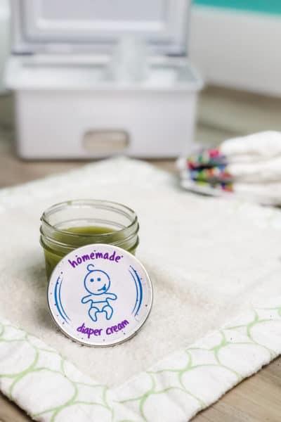 homemade diaper rash cream on table in a jar