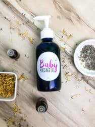 Best Baby Massage Oil Recipe Infused with Lavender and Rose in bottle on table