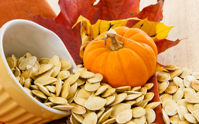 Pumpkin and pumpkin seeds with fall leaves.