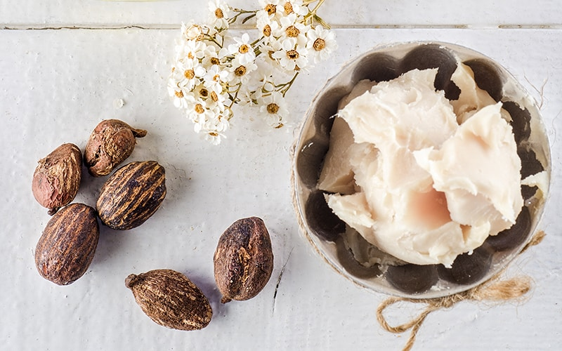 Shea nuts and shea butter in a bowl on a table.