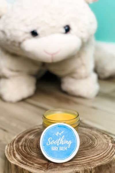 shea butter baby balm in jar on table