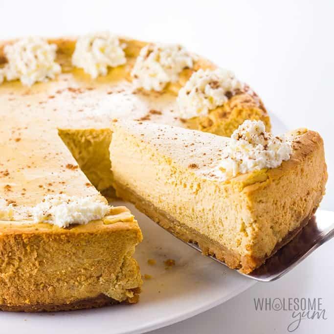 Low Carb Keto Pumpkin Cheesecake Recipe | Wholesome Yum