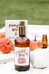Bottle of diy pumpkin spice essential oil room spray.