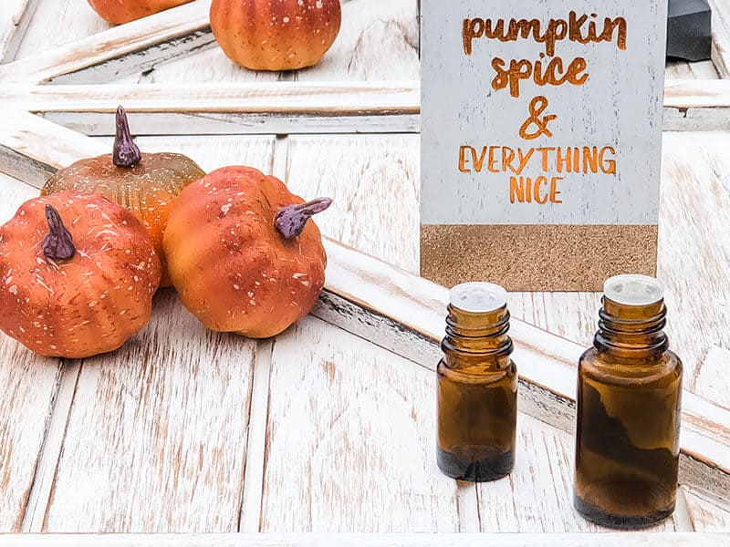 Bottle of diy pumpkin spice essential oil room spray.