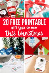printable gift tag on Christmas gifts