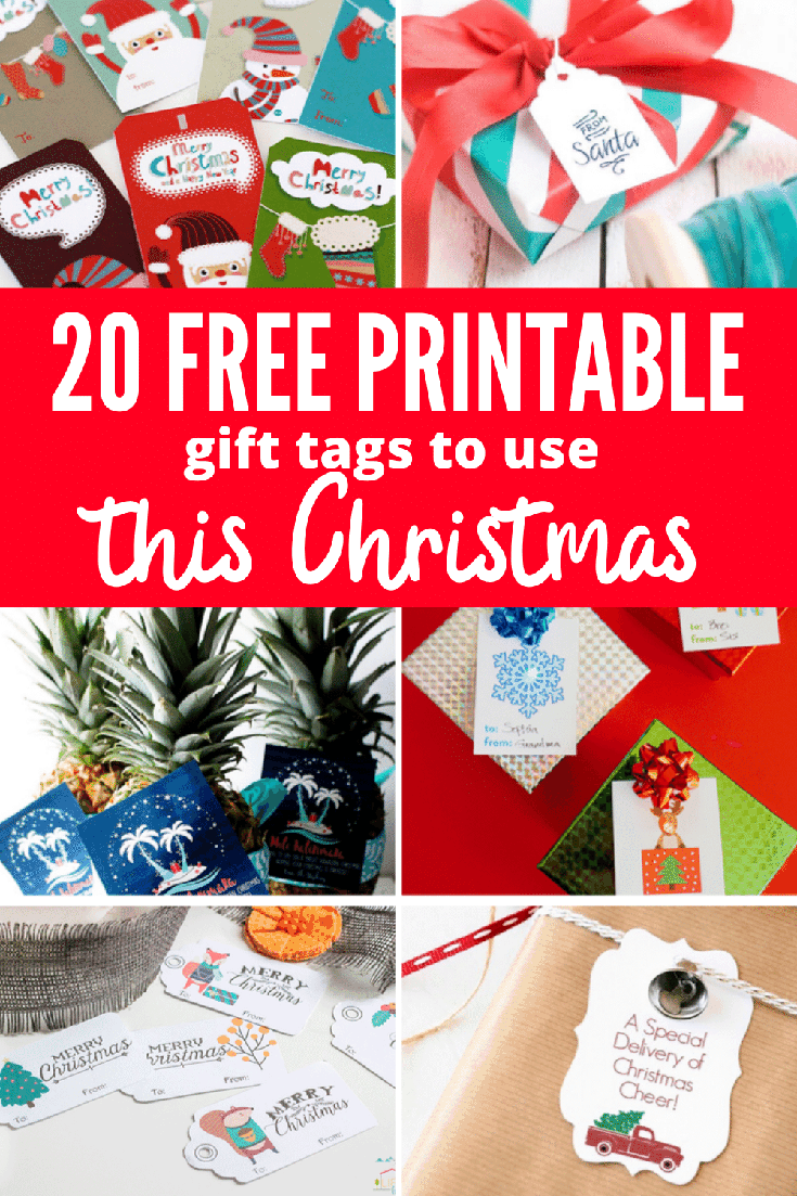 printable gift tag on Christmas gifts