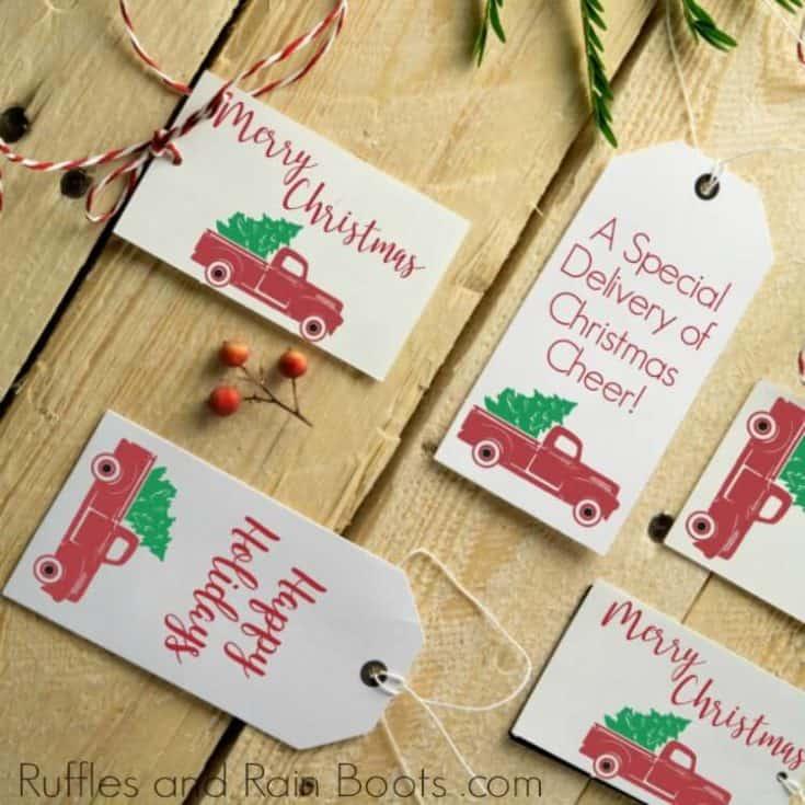 Printable Gift Tags with Vintage Christmas Trucks