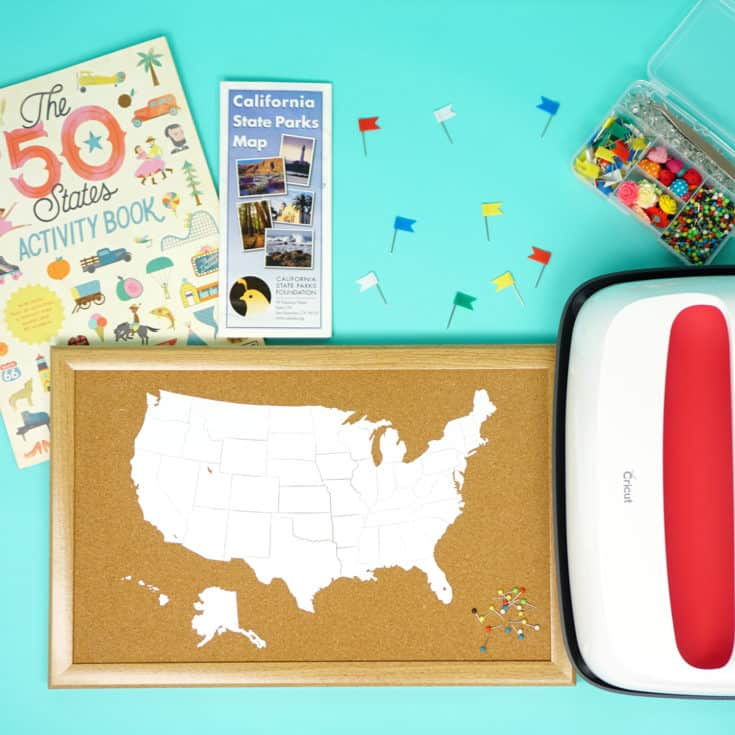 DIY Cork Board Travel Map with the Cricut EasyPress 2