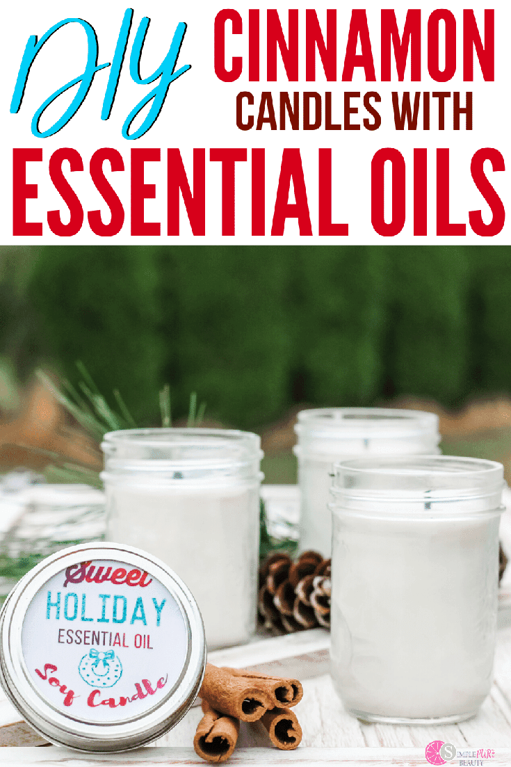 These homemade candles make the perfect gift for the holidays. Made from essential oils and natural ingredients, you're going to love the scent of these cinnamon candles. All you need are a few simple supplies and you're going to love the holiday scented candle for hours on end! #homemadecandles #holidaycandles #cinnamoncandles #DIYcandle #essentialoils #candlegifts