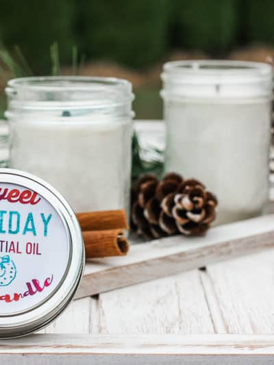 holiday scented natural candle