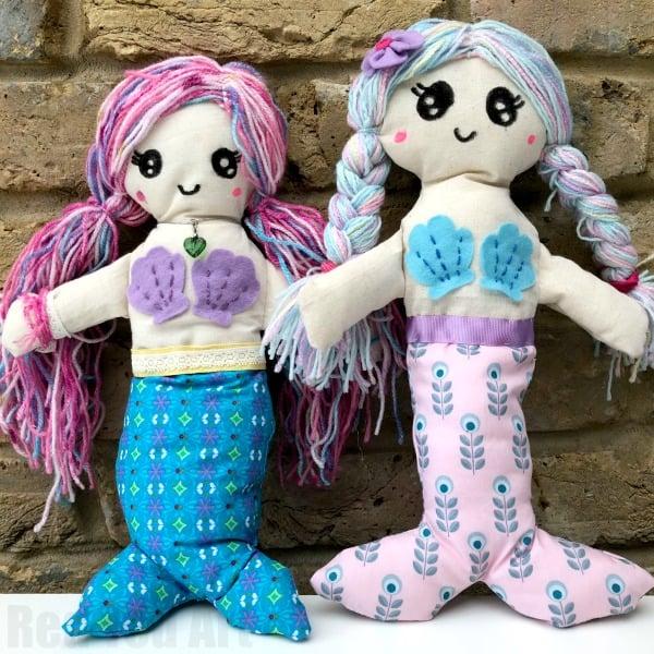 Mermaid Rag Doll Pattern - Red Ted Art