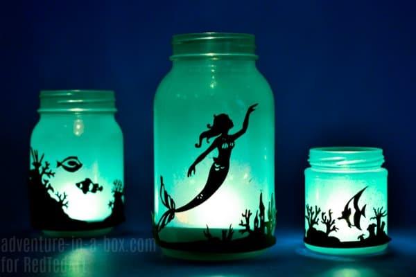DIY Mermaid Lantern Jar - Red Ted Art