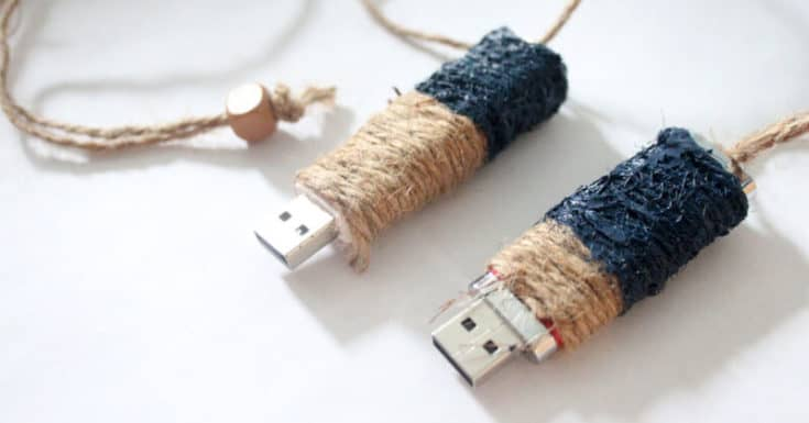 DIY Gift Idea for Men: Color Blocked Twine Flash Drive