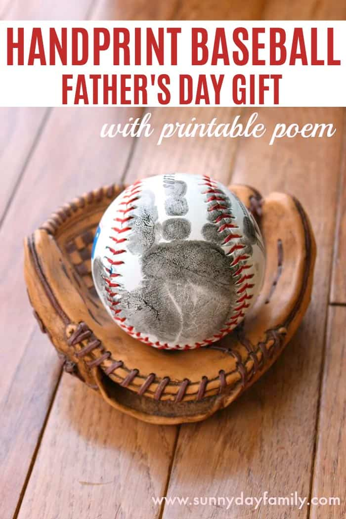 Handprint Baseball Father's Day Gift with Free Printable Poem