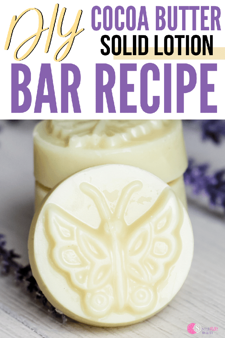 This DIY lotion bar recipe is simple and easy to make. It's made using natural ingredients and is certain to help with dry skin. Just add in a few essential oils and create a soothing cocoa butter recipe for your soap that your skin is really going to love. It will help to stop the itching and feeling of dry skin as well. Great for your own use at home but also a great DIY gift idea for all your family and friends as well. #essentialoils #lotionbar #cocoabutter #DIYsoap #natural #homemadesoap