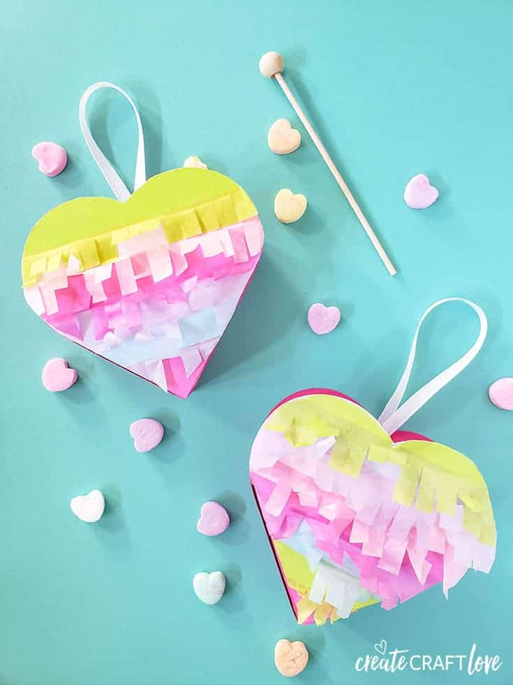 Mini Heart Pinatas for Valentine's Day