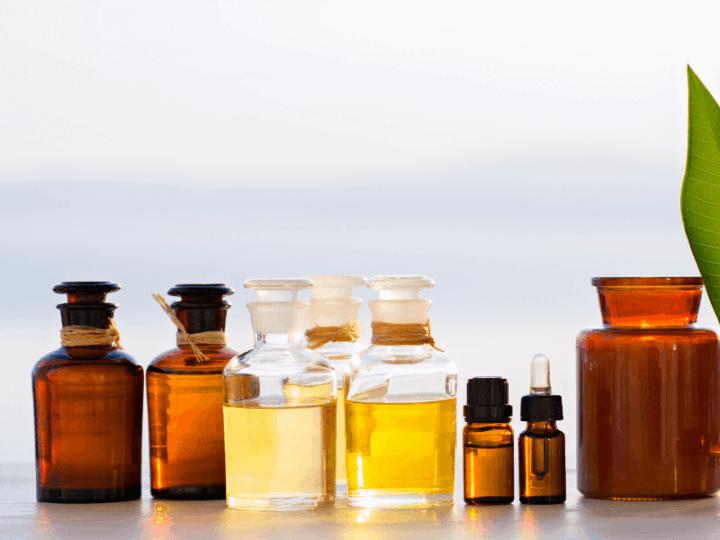 Bottles of carrier oils in cbd oil