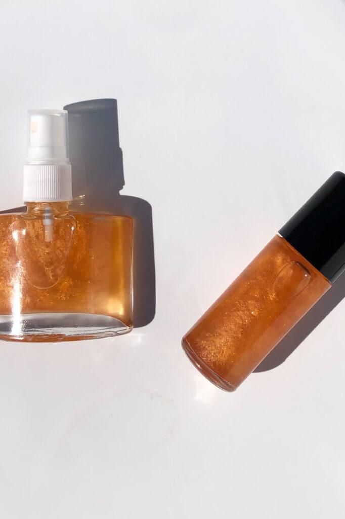 2 bottles of diy shimmer body oil
